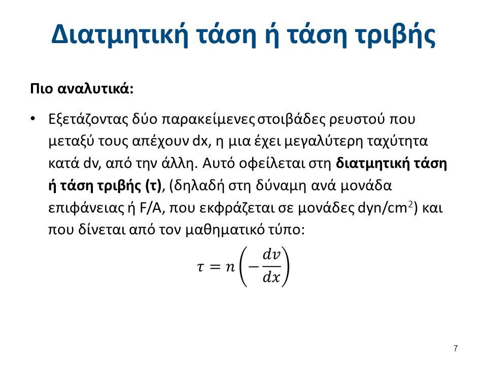 Διατμητική τάση ή τάση τριβής Πιο αναλυτικά: Εξετάζοντας δύο παρακείμενες στοιβάδες ρευστού που μεταξύ τους απέχουν dx, η μια έχει μεγαλύτερη ταχύτητα