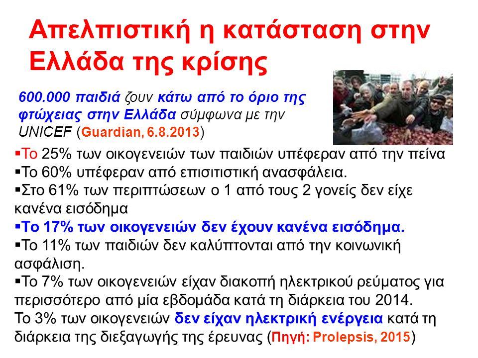 Απελπιστική η κατάσταση στην Ελλάδα της κρίσης 600.000 παιδιά ζουν κάτω από το όριο της φτώχειας στην Ελλάδα σύμφωνα με την UNICEF ( Guardian, 6.8.201
