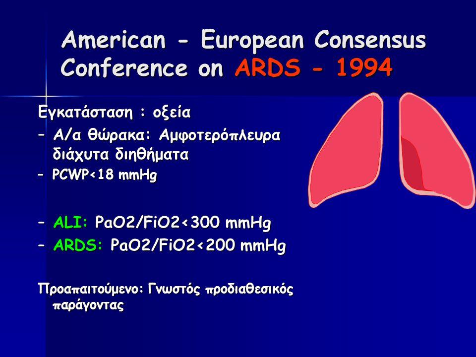 American - European Consensus Conference on ARDS - 1994 Εγκατάσταση : οξεία –Α/α θώρακα: Αμφοτερόπλευρα διάχυτα διηθήματα –PCWP<18 mmHg –ALI: PaO2/FiO2<300 mmHg –ARDS: PaO2/FiO2<200 mmHg Προαπαιτούμενο: Γνωστός προδιαθεσικός παράγοντας