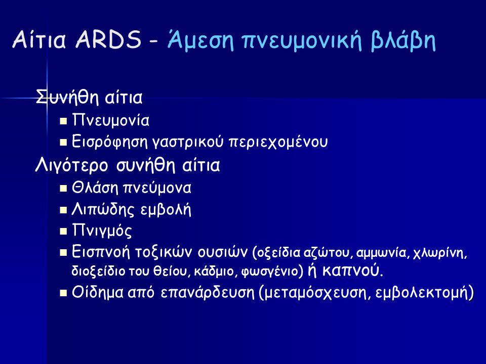 Αίτια ARDS - Άμεση πνευμονική βλάβη Συνήθη αίτια Πνευμονία Εισρόφηση γαστρικού περιεχομένου Λιγότερο συνήθη αίτια Θλάση πνεύμονα Λιπώδης εμβολή Πνιγμός Εισπνοή τοξικών ουσιών (οξείδια αζώτου, αμμωνία, χλωρίνη, διοξείδιο του θείου, κάδμιο, φωσγένιο) ή καπνού.