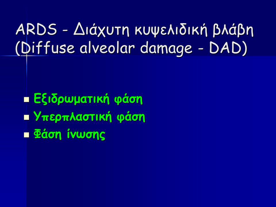 ARDS - Διάχυτη κυψελιδική βλάβη (Diffuse alveolar damage - DAD) Εξιδρωματική φάση Εξιδρωματική φάση Υπερπλαστική φάση Υπερπλαστική φάση Φάση ίνωσης Φάση ίνωσης