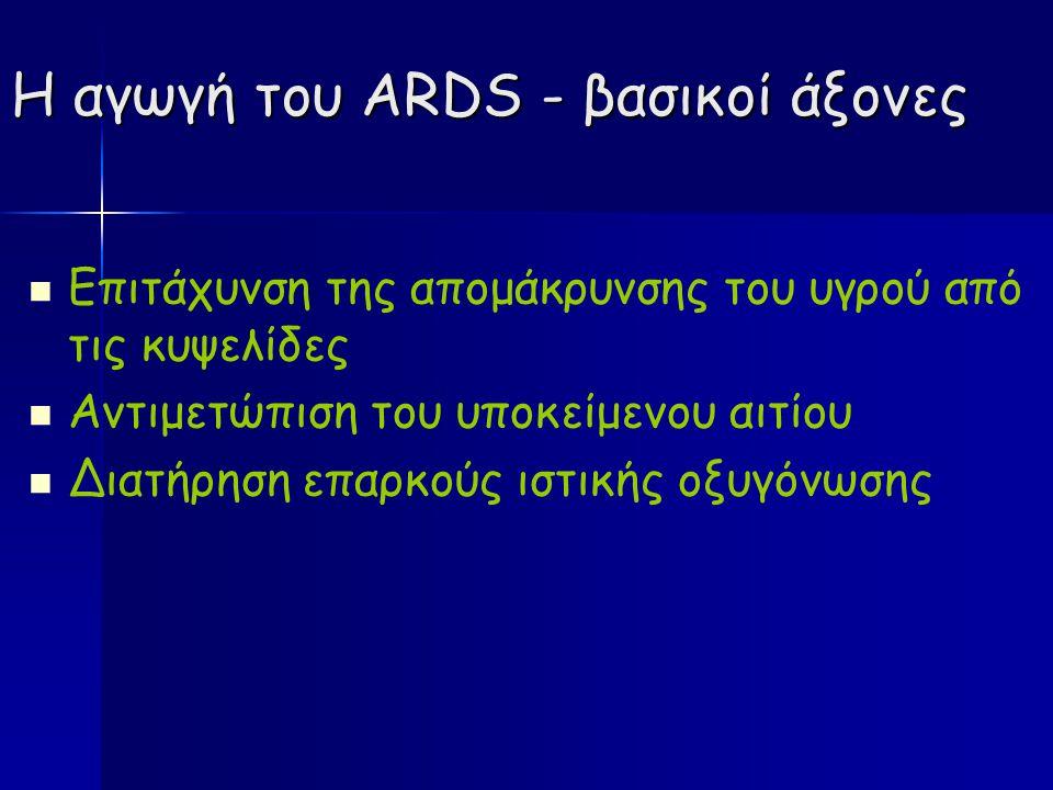 Η αγωγή του ARDS - βασικοί άξονες Επιτάχυνση της απομάκρυνσης του υγρού από τις κυψελίδες Αντιμετώπιση του υποκείμενου αιτίου Διατήρηση επαρκούς ιστικής οξυγόνωσης