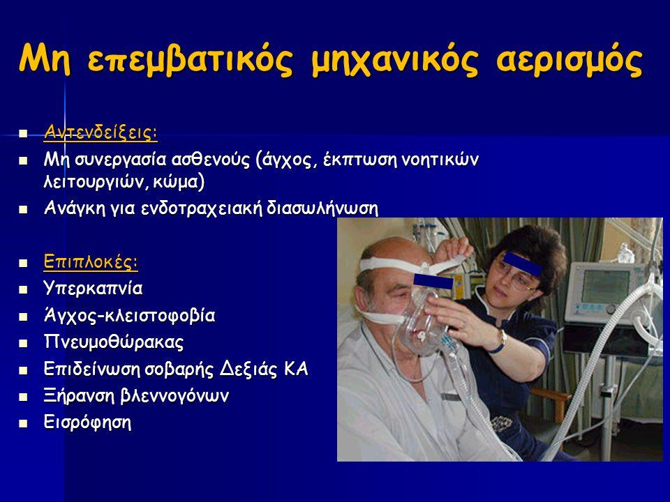 Μη επεμβατικός μηχανικός αερισμός Αντενδείξεις: Αντενδείξεις: Μη συνεργασία ασθενούς (άγχος, έκπτωση νοητικών λειτουργιών, κώμα) Μη συνεργασία ασθενούς (άγχος, έκπτωση νοητικών λειτουργιών, κώμα) Ανάγκη για ενδοτραχειακή διασωλήνωση Ανάγκη για ενδοτραχειακή διασωλήνωση Επιπλοκές: Επιπλοκές: Υπερκαπνία Υπερκαπνία Άγχος-κλειστοφοβία Άγχος-κλειστοφοβία Πνευμοθώρακας Πνευμοθώρακας Επιδείνωση σοβαρής Δεξιάς ΚΑ Επιδείνωση σοβαρής Δεξιάς ΚΑ Ξήρανση βλεννογόνων Ξήρανση βλεννογόνων Εισρόφηση Εισρόφηση