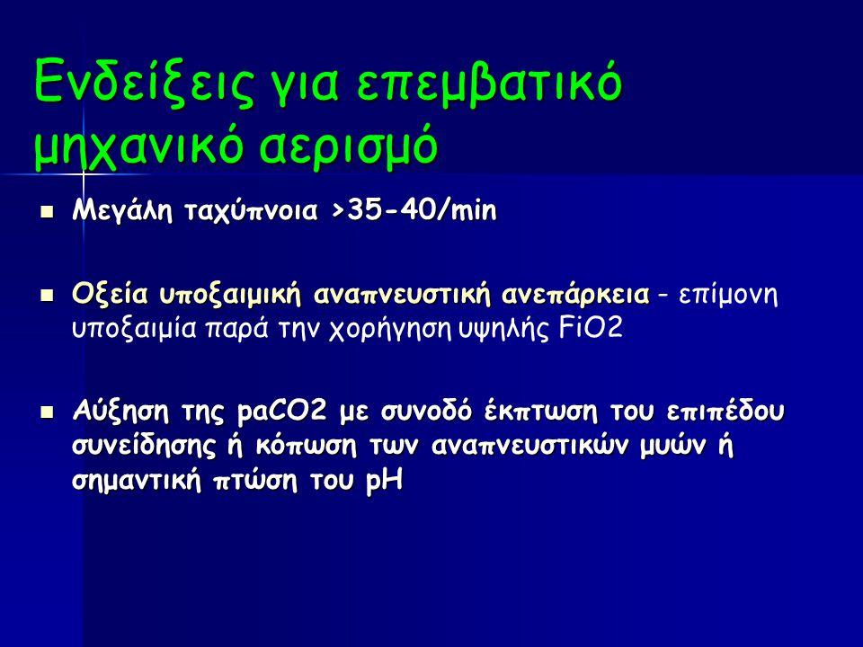 Ενδείξεις για επεμβατικό μηχανικό αερισμό Μεγάλη ταχύπνοια >35-40/min Μεγάλη ταχύπνοια >35-40/min Οξεία υποξαιμική αναπνευστική ανεπάρκεια Οξεία υποξαιμική αναπνευστική ανεπάρκεια - επίμονη υποξαιμία παρά την χορήγηση υψηλής FiO2 Αύξηση της paCO2 με συνοδό έκπτωση του επιπέδου συνείδησης ή κόπωση των αναπνευστικών μυών ή σημαντική πτώση του pH Αύξηση της paCO2 με συνοδό έκπτωση του επιπέδου συνείδησης ή κόπωση των αναπνευστικών μυών ή σημαντική πτώση του pH