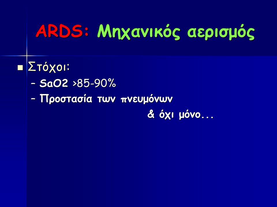 ARDS: Μηχανικός αερισμός Στόχοι: Στόχοι: –SaO2 >85-90% –Προστασία των πνευμόνων & όχι μόνο...
