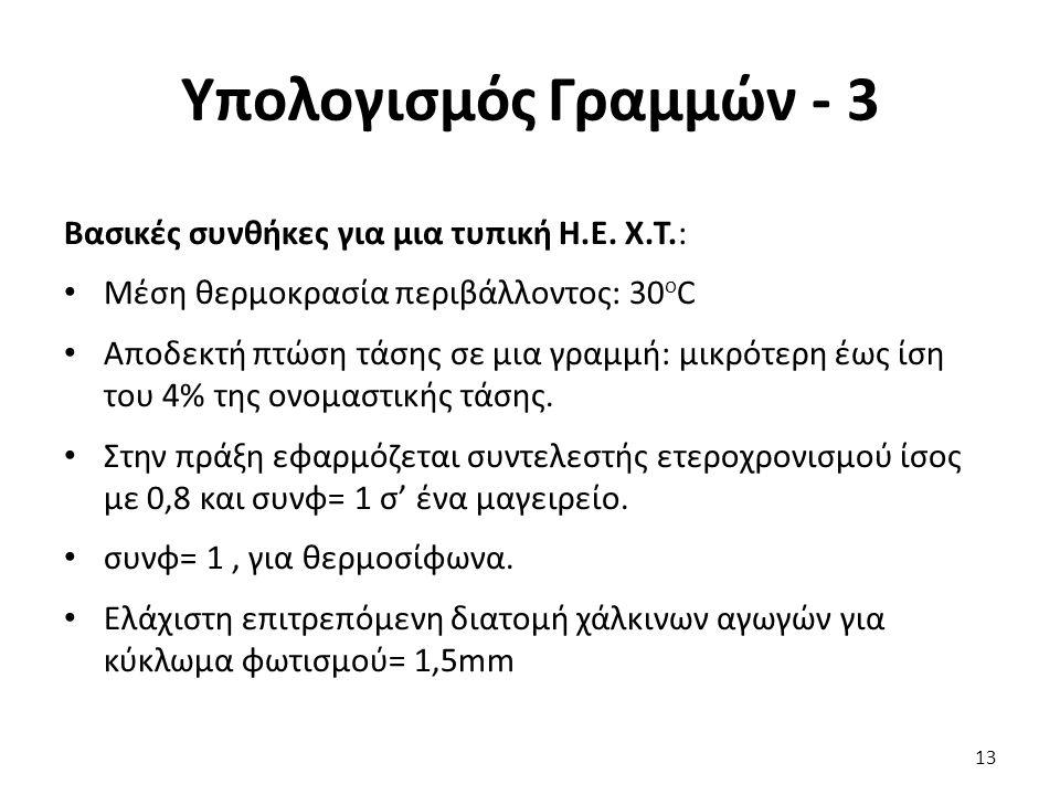 Υπολογισμός Γραμμών - 3 Βασικές συνθήκες για μια τυπική Η.Ε.