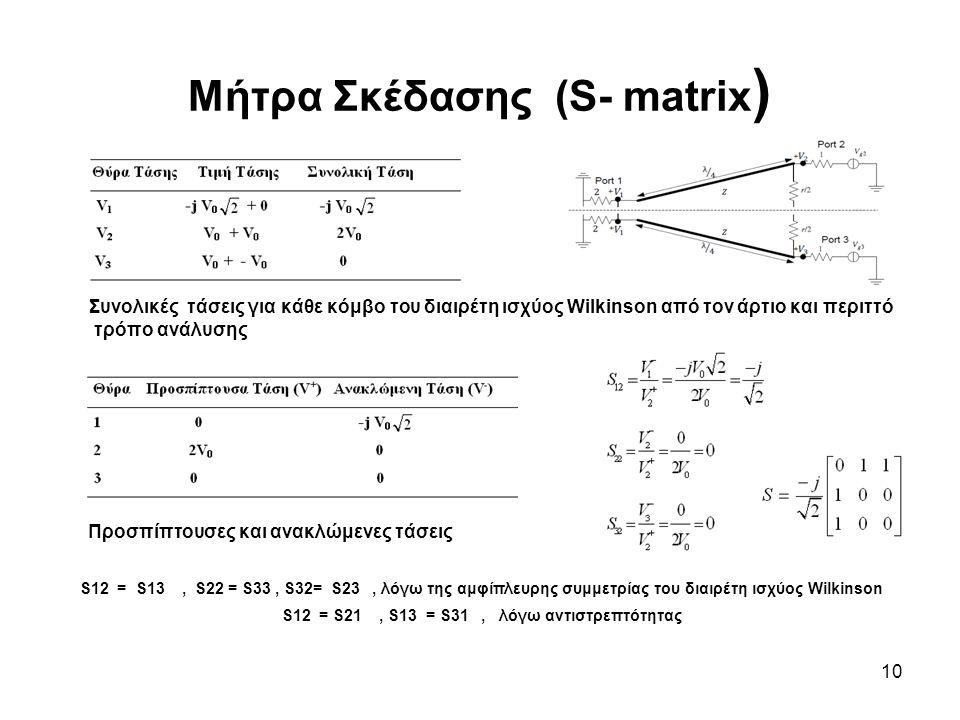10 Μήτρα Σκέδασης (S- matrix ) Συνολικές τάσεις για κάθε κόμβο του διαιρέτη ισχύος Wilkinson από τον άρτιο και περιττό τρόπο ανάλυσης Προσπίπτουσες κα