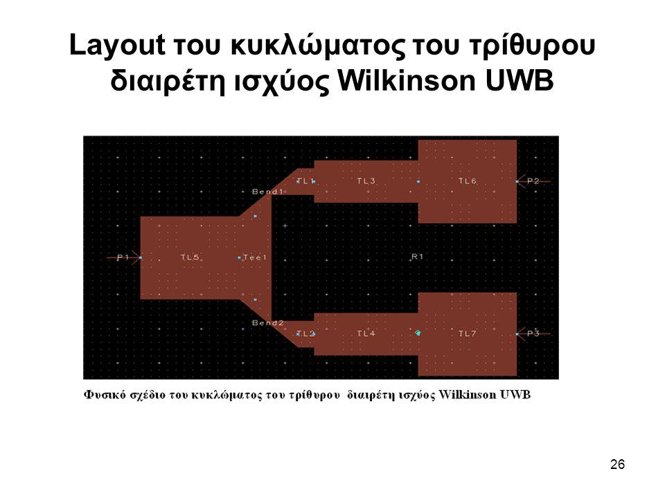 26 Layout του κυκλώματος του τρίθυρου διαιρέτη ισχύος Wilkinson UWB