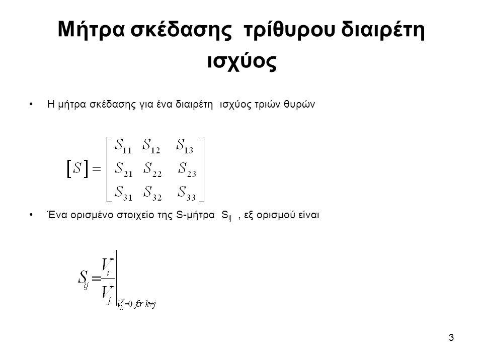 3 Μήτρα σκέδασης τρίθυρου διαιρέτη ισχύος Η μήτρα σκέδασης για ένα διαιρέτη ισχύος τριών θυρών Ένα ορισμένο στοιχείο της S-μήτρα S ij, εξ ορισμού είνα