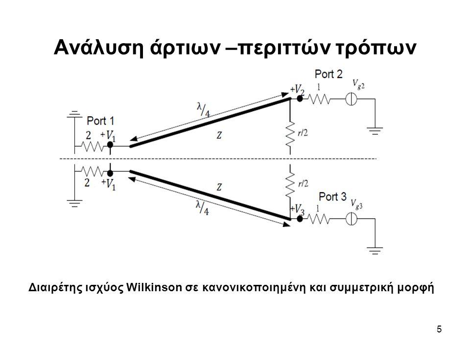 6 Άρτιος τρόπος Vg2=Vg3=2V0 Ισοδύναμο κύκλωμα διαιρέτη ισχύος Wilkinson για τον άρτιο τρόπο ανάλυσης