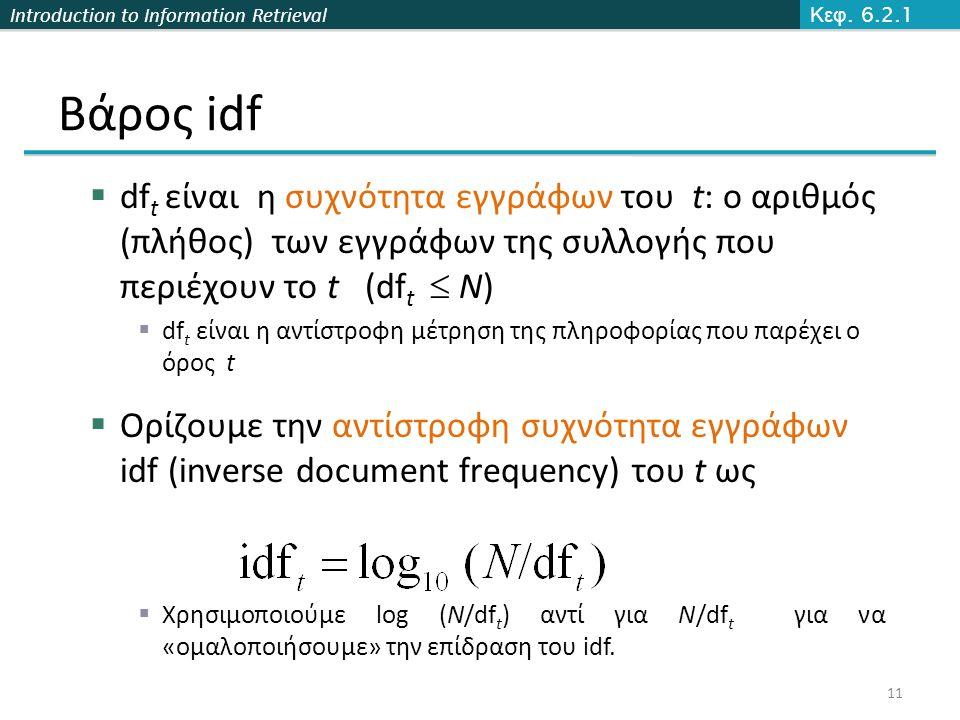 Introduction to Information Retrieval Βάρος idf  df t είναι η συχνότητα εγγράφων του t: ο αριθμός (πλήθος) των εγγράφων της συλλογής που περιέχουν το t (df t  N)  df t είναι η αντίστροφη μέτρηση της πληροφορίας που παρέχει ο όρος t  Ορίζουμε την αντίστροφη συχνότητα εγγράφων idf (inverse document frequency) του t ως  Χρησιμοποιούμε log (N/df t ) αντί για N/df t για να «ομαλοποιήσουμε» την επίδραση του idf.
