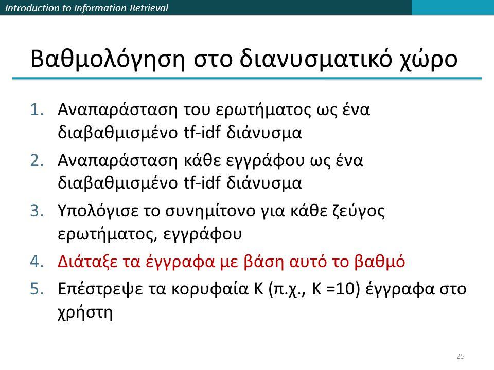 Introduction to Information Retrieval Βαθμολόγηση στο διανυσματικό χώρο 1.Αναπαράσταση του ερωτήματος ως ένα διαβαθμισμένο tf-idf διάνυσμα 2.Αναπαράσταση κάθε εγγράφου ως ένα διαβαθμισμένο tf-idf διάνυσμα 3.Υπολόγισε το συνημίτονο για κάθε ζεύγος ερωτήματος, εγγράφου 4.Διάταξε τα έγγραφα με βάση αυτό το βαθμό 5.Επέστρεψε τα κορυφαία Κ (π.χ., Κ =10) έγγραφα στο χρήστη 25