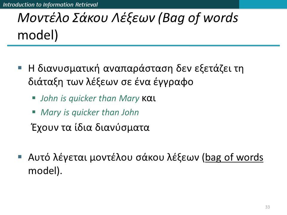 Introduction to Information Retrieval Μοντέλο Σάκου Λέξεων (Bag of words model)  Η διανυσματική αναπαράσταση δεν εξετάζει τη διάταξη των λέξεων σε ένα έγγραφο  John is quicker than Mary και  Mary is quicker than John Έχουν τα ίδια διανύσματα  Αυτό λέγεται μοντέλου σάκου λέξεων (bag of words model).