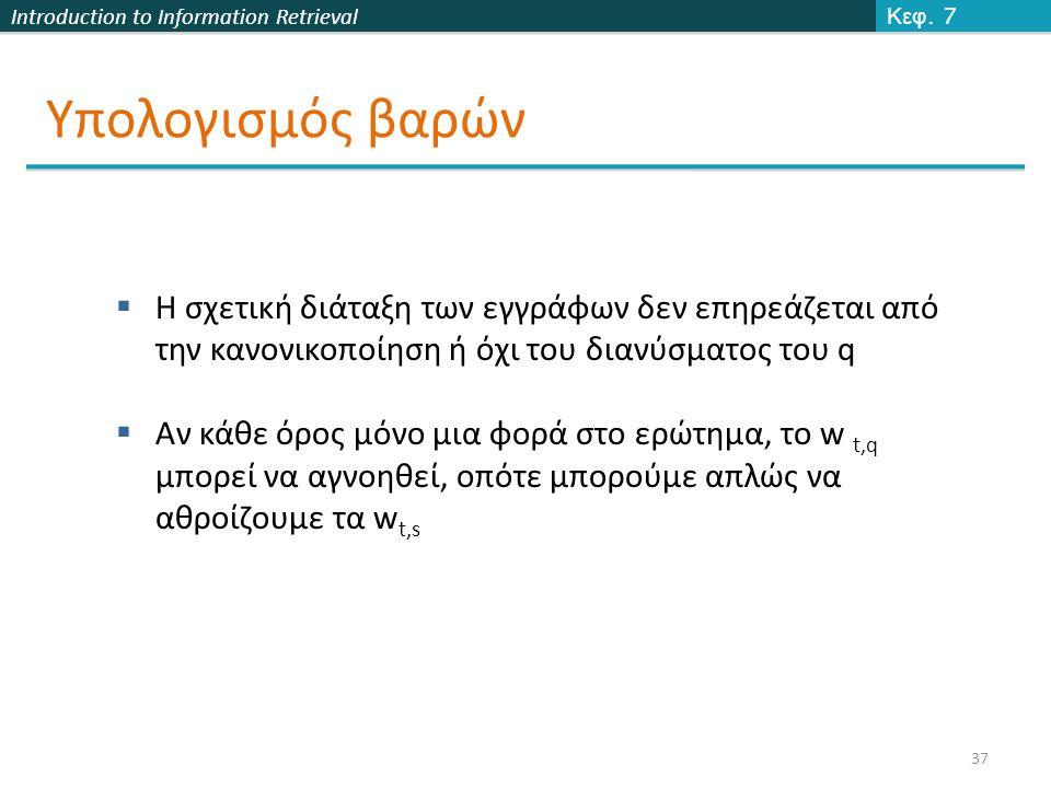 Introduction to Information Retrieval Υπολογισμός βαρών Κεφ.