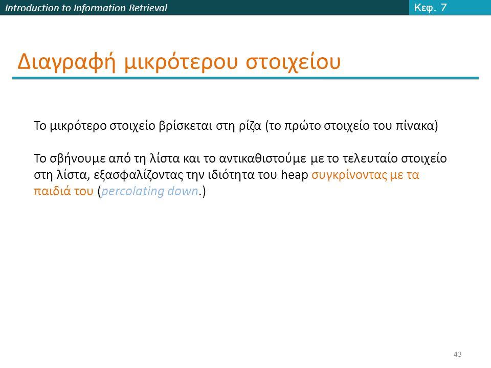Introduction to Information Retrieval Διαγραφή μικρότερου στοιχείου Κεφ.