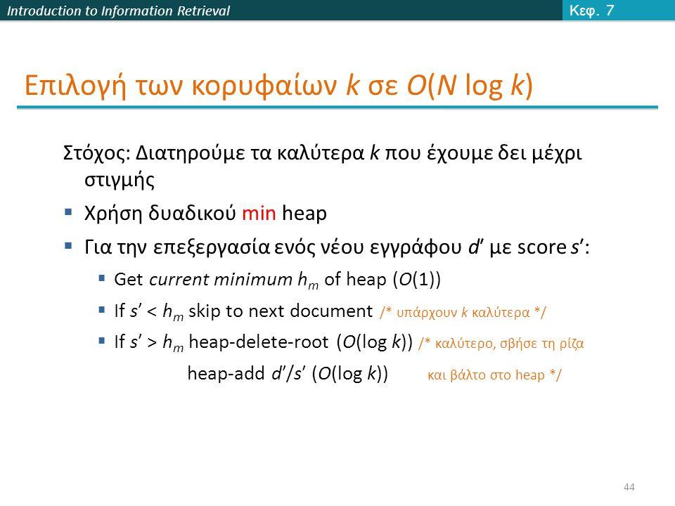 Introduction to Information Retrieval Επιλογή των κορυφαίων k σε O(N log k) Κεφ.