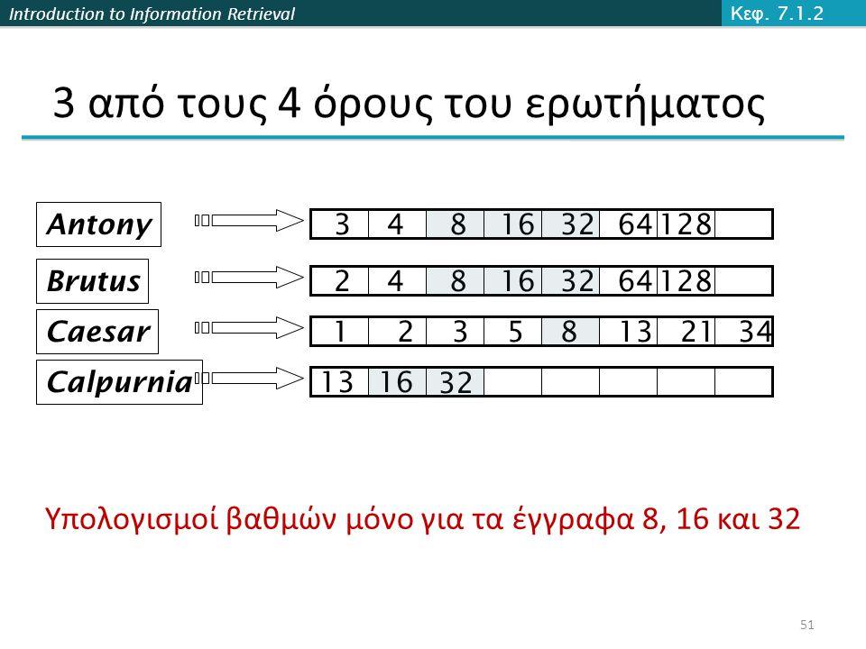 Introduction to Information Retrieval 3 από τους 4 όρους του ερωτήματος Brutus Caesar Calpurnia 12358132134 248163264128 1316 Antony 348163264128 32 Υπολογισμοί βαθμών μόνο για τα έγγραφα 8, 16 και 32 Κεφ.