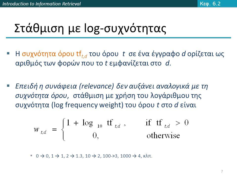 Introduction to Information Retrieval Στάθμιση με log-συχνότητας  Ο βαθμός για ένα ζεύγος εγγράφου-ερωτήματος: άθροισμα των βαρών όλων των κοινών όρων:  Ο βαθμός είναι 0 όταν κανένας από τους όρους του ερωτήματος δεν εμφανίζεται στο έγγραφο Κεφ.