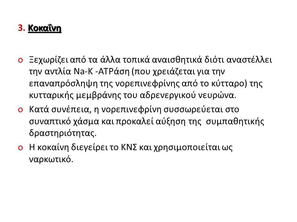 Κοκαΐνη 3. Κοκαΐνη oΞεχωρίζει από τα άλλα τοπικά αναισθητικά διότι αναστέλλει την αντλία Na-K -ATPάση (που χρειάζεται για την επαναπρόσληψη της νορεπι