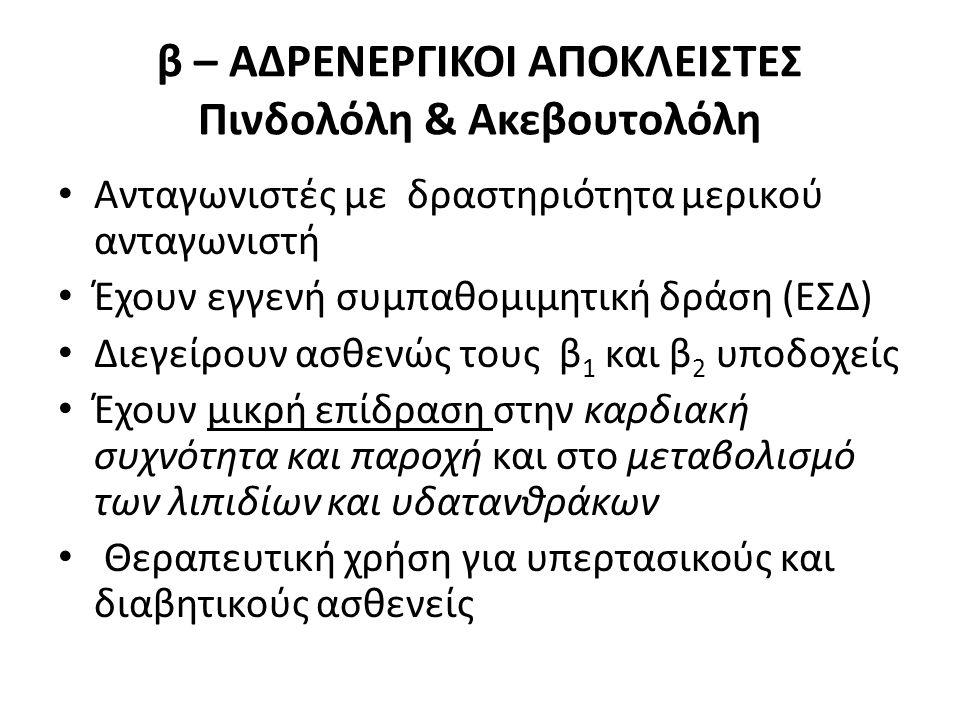 β – ΑΔΡΕΝΕΡΓΙΚΟΙ ΑΠΟΚΛΕΙΣΤΕΣ Πινδολόλη & Ακεβουτολόλη Ανταγωνιστές με δραστηριότητα μερικού ανταγωνιστή Έχουν εγγενή συμπαθομιμητική δράση (ΕΣΔ) Διεγε