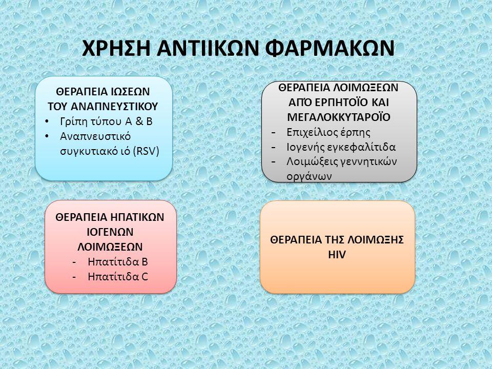 ΦΑΡΜΑΚΑ ΓΙΑ ΘΕΡΑΠΕΙΑ ΤΩΝ ΙΩΣΕΩΝ ΤΟΥ ΑΝΑΠΝΕΥΣΤΙΚΟΥ 1.Aναστολείς νευραμινιδάσης (οσελταμιβίρη, ζαναμιβίρη) 2.Αναστολείς ιικής έκδυσης (αμανταδίνη, ριμανταδίνη) 3.Ριμπαβιρίνη