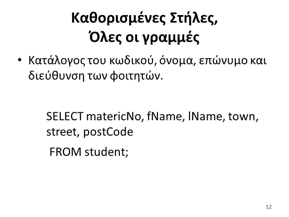 Καθορισμένες Στήλες, Όλες οι γραμμές Κατάλογος του κωδικού, όνομα, επώνυμο και διεύθυνση των φοιτητών.