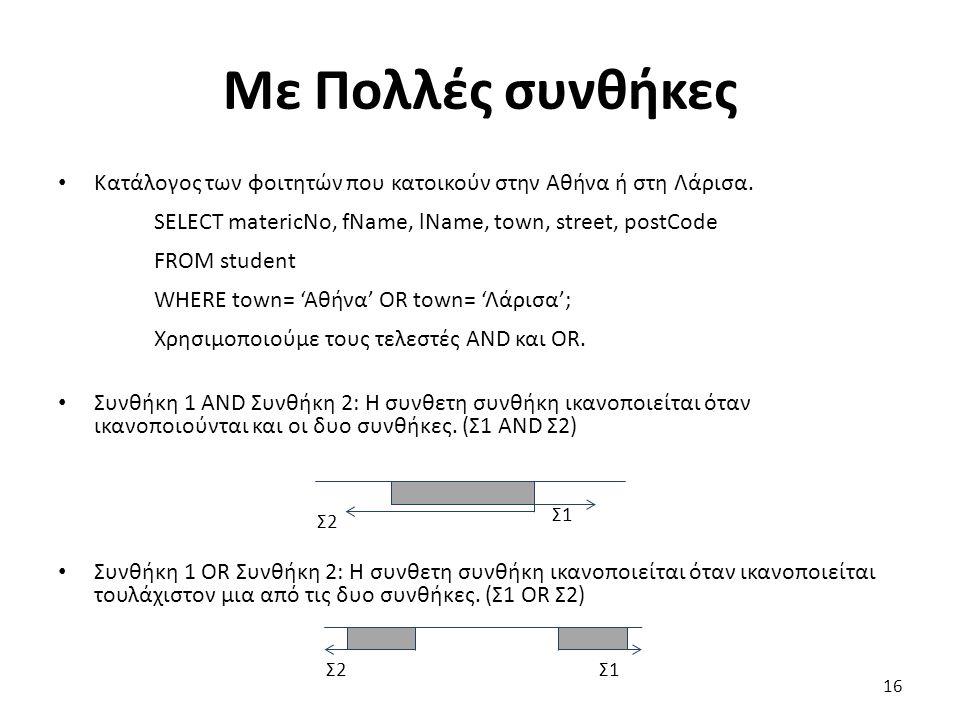 Με Πολλές συνθήκες Κατάλογος των φοιτητών που κατοικούν στην Αθήνα ή στη Λάρισα.