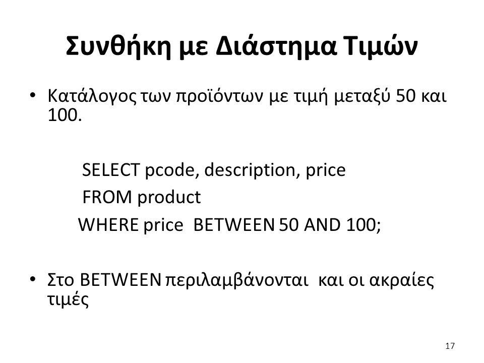 Συνθήκη με Διάστημα Τιμών Κατάλογος των προϊόντων με τιμή μεταξύ 50 και 100.