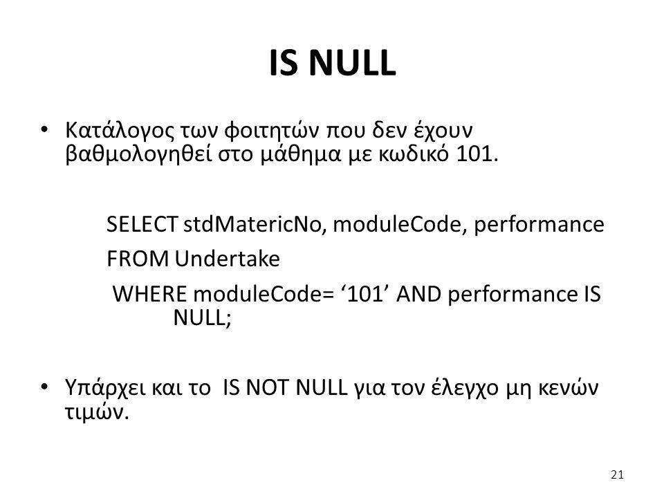 IS NULL Κατάλογος των φοιτητών που δεν έχουν βαθμολογηθεί στο μάθημα με κωδικό 101.