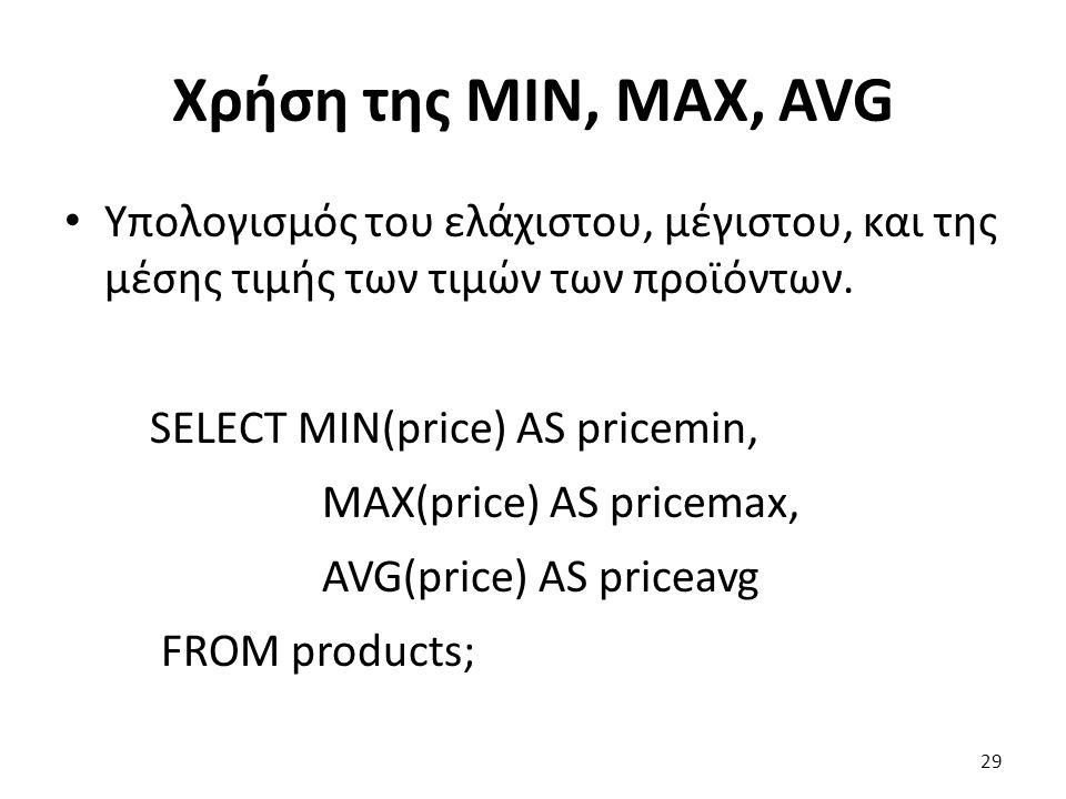 Χρήση της MIN, MAX, AVG Υπολογισμός του ελάχιστου, μέγιστου, και της μέσης τιμής των τιμών των προϊόντων.