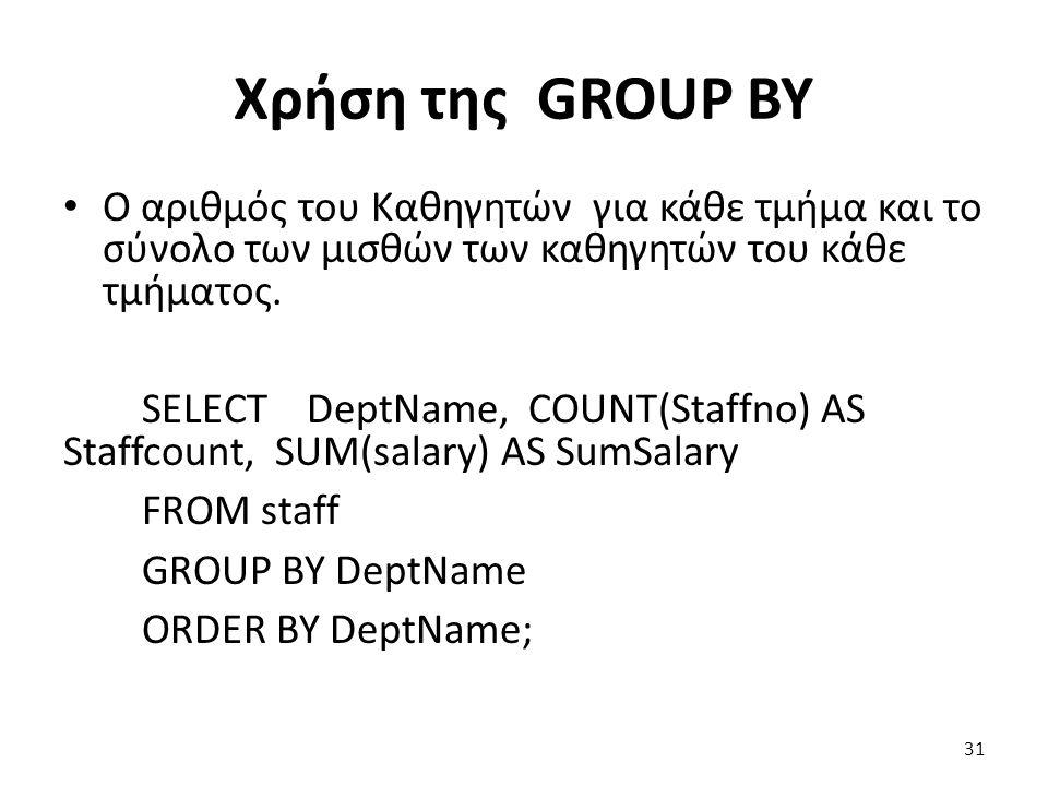 Χρήση της GROUP BY Ο αριθμός του Καθηγητών για κάθε τμήμα και το σύνολο των μισθών των καθηγητών του κάθε τμήματος.