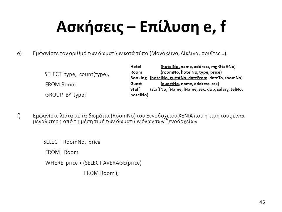 Ασκήσεις – Επίλυση e, f e)Εμφανίστε τον αριθμό των δωματίων κατά τύπο (Μονόκλινα, Δίκλινα, σουϊτες…).