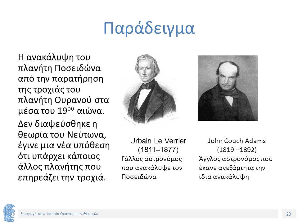 23 Εισαγωγή στην Ιστορία Οικονομικών Θεωριών Η ανακάλυψη του πλανήτη Ποσειδώνα από την παρατήρηση της τροχιάς του πλανήτη Ουρανού στα μέσα του 19 ου αιώνα.