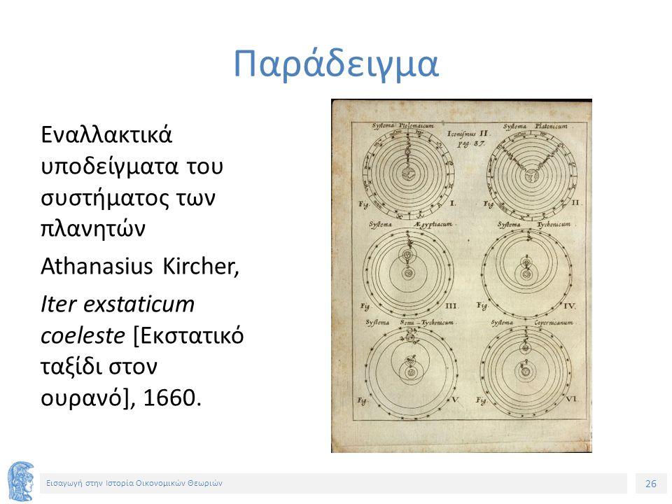 26 Εισαγωγή στην Ιστορία Οικονομικών Θεωριών Εναλλακτικά υποδείγματα του συστήματος των πλανητών Athanasius Kircher, Iter exstaticum coeleste [Εκστατικό ταξίδι στον ουρανό], 1660.