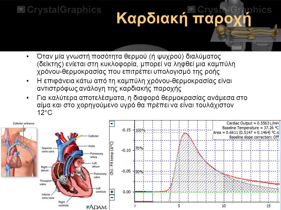 Καρδιακή παροχή Όταν μία γνωστή ποσότητα θερμού (ή ψυχρού) διαλύματος (δείκτης) ενίεται στη κυκλοφορία, μπορεί να ληφθεί μια καμπύλη χρόνου-θερμοκρασί