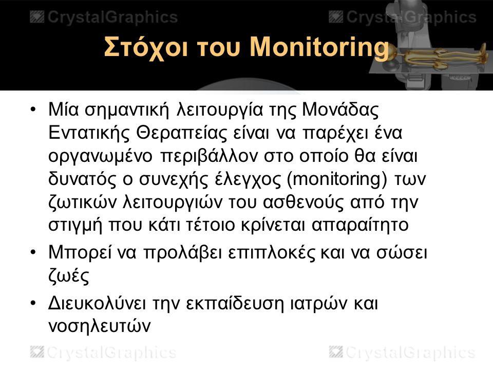 Στόχοι του Monitoring Μία σημαντική λειτουργία της Μονάδας Εντατικής Θεραπείας είναι να παρέχει ένα οργανωμένο περιβάλλον στο οποίο θα είναι δυνατός ο