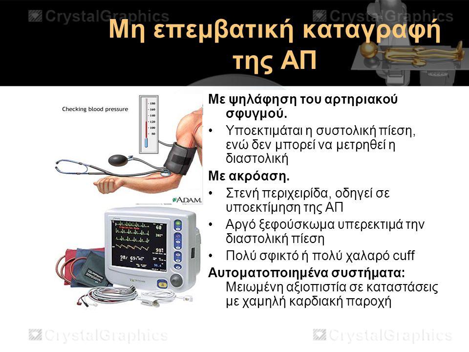 Μη επεμβατική καταγραφή της ΑΠ Με ψηλάφηση του αρτηριακού σφυγμού. Υποεκτιμάται η συστολική πίεση, ενώ δεν μπορεί να μετρηθεί η διαστολική Με ακρόαση.