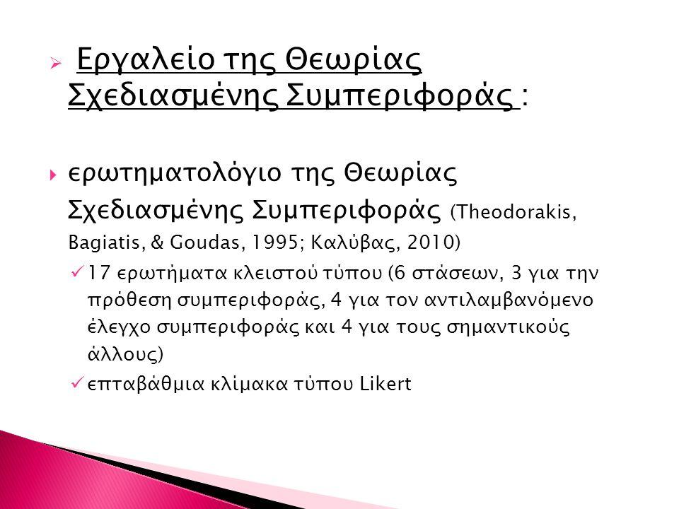  Εργαλείο της Θεωρίας Σχεδιασμένης Συμπεριφοράς :  ερωτηματολόγιο της Θεωρίας Σχεδιασμένης Συμπεριφοράς (Theodorakis, Bagiatis, & Goudas, 1995; Καλύ