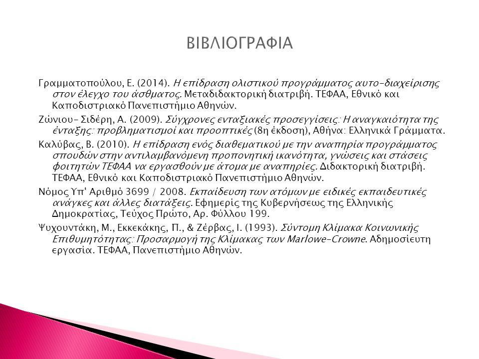 Γραμματοπούλου, Ε. (2014). Η επίδραση ολιστικού προγράμματος αυτο-διαχείρισης στον έλεγχο του άσθματος. Μεταδιδακτορική διατριβή. ΤΕΦΑΑ, Εθνικό και Κα