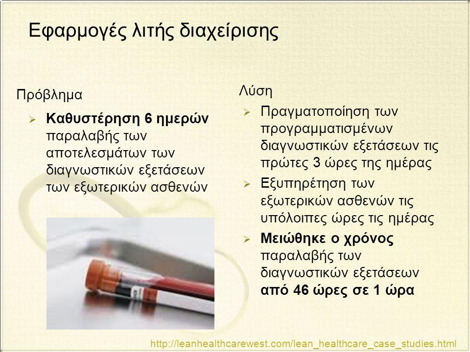 Εφαρμογές λιτής διαχείρισης  Καθυστέρηση 6 ημερών παραλαβής των αποτελεσμάτων των διαγνωστικών εξετάσεων των εξωτερικών ασθενών  Πραγματοποίηση των