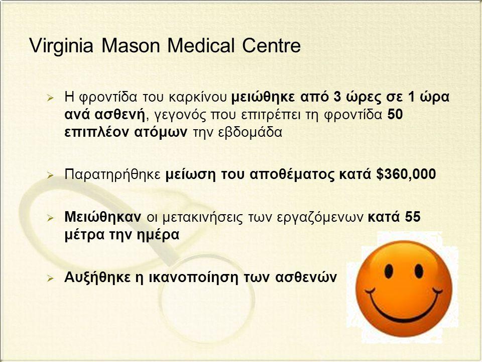 Virginia Mason Medical Centre  Η φροντίδα του καρκίνου μειώθηκε από 3 ώρες σε 1 ώρα ανά ασθενή, γεγονός που επιτρέπει τη φροντίδα 50 επιπλέον ατόμων
