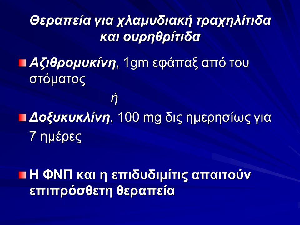 Θεραπεία για χλαμυδιακή τραχηλίτιδα και ουρηθρίτιδα Αζιθρομυκίνη, 1gm εφάπαξ από του στόματος ή Δοξυκυκλίνη, 100 mg δις ημερησίως για 7 ημέρες 7 ημέρε