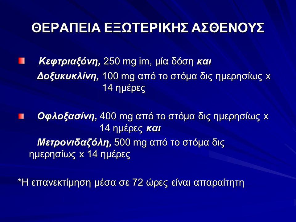 ΘΕΡΑΠΕΙΑ ΕΞΩΤΕΡΙΚΗΣ ΑΣΘΕΝΟΥΣ Κεφτριαξόνη, 250 mg im, μία δόση και Κεφτριαξόνη, 250 mg im, μία δόση και Δοξυκυκλίνη, 100 mg από το στόμα δις ημερησίως x 14 ημέρες Δοξυκυκλίνη, 100 mg από το στόμα δις ημερησίως x 14 ημέρες Οφλοξασίνη, 400 mg από το στόμα δις ημερησίως x 14 ημέρες και Οφλοξασίνη, 400 mg από το στόμα δις ημερησίως x 14 ημέρες και Μετρονιδαζόλη, 500 mg από το στόμα δις ημερησίως x 14 ημέρες Μετρονιδαζόλη, 500 mg από το στόμα δις ημερησίως x 14 ημέρες *Η επανεκτίμηση μέσα σε 72 ώρες είναι απαραίτητη