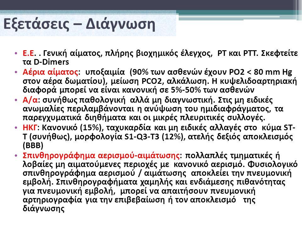 Εξετάσεις – Διάγνωση Ε.Ε..Γενική αίματος, πλήρης βιοχημικός έλεγχος, PT και PTT.