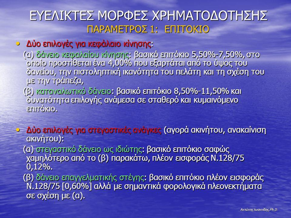 Αντώνης Ιωαννίδης,Ph.D. ΕΥΕΛΙΚΤΕΣ ΜΟΡΦΕΣ ΧΡΗΜΑΤΟΔΟΤΗΣΗΣ ΠΑΡΑΜΕΤΡΟΣ 1: ΕΠΙΤΟΚΙΟ Δύο επιλογές για κεφάλαιο κίνησης: Δύο επιλογές για κεφάλαιο κίνησης: (