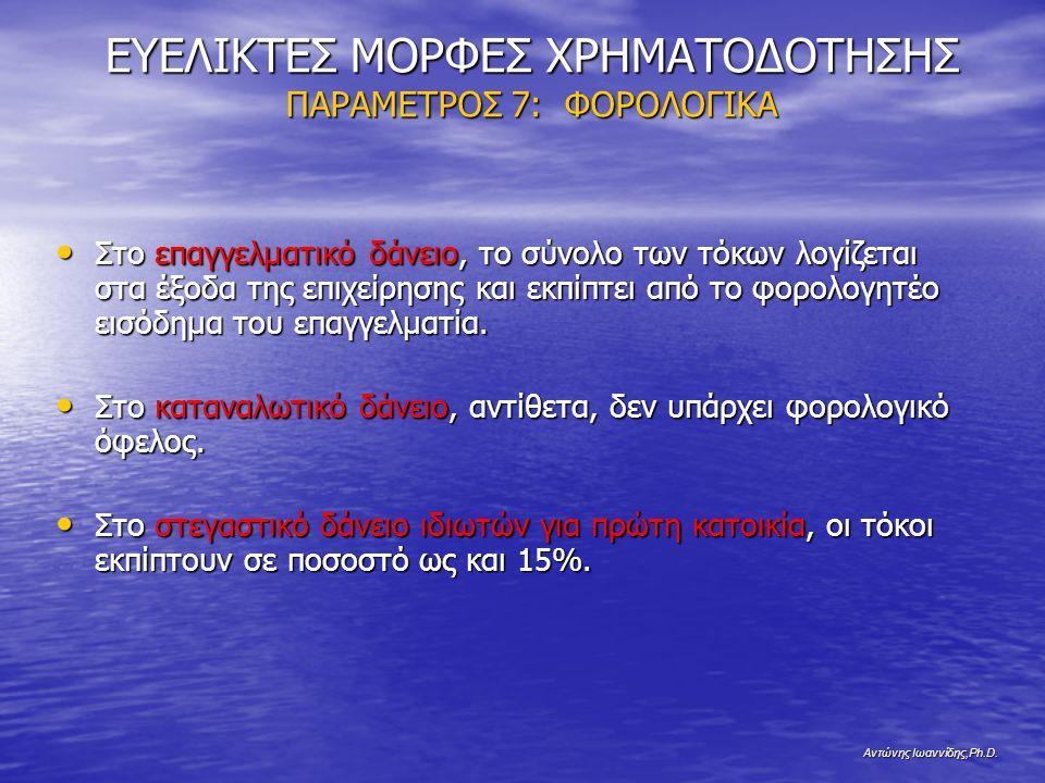 Αντώνης Ιωαννίδης,Ph.D. ΕΥΕΛΙΚΤΕΣ ΜΟΡΦΕΣ ΧΡΗΜΑΤΟΔΟΤΗΣΗΣ ΠΑΡΑΜΕΤΡΟΣ 7: ΦΟΡΟΛΟΓΙΚΑ Στο επαγγελματικό δάνειο, το σύνολο των τόκων λογίζεται στα έξοδα της
