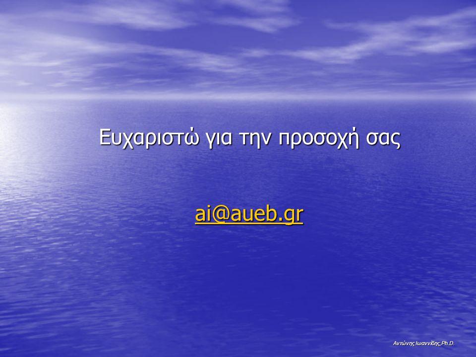 Αντώνης Ιωαννίδης,Ph.D. Ευχαριστώ για την προσοχή σας ai@aueb.gr