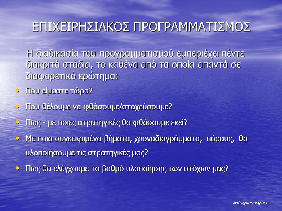 Αντώνης Ιωαννίδης,Ph.D. ΕΠΙΧΕΙΡΗΣΙΑΚΟΣ ΠΡΟΓΡΑΜΜΑΤΙΣΜΟΣ Η διαδικασία του προγραμματισμού εμπεριέχει πέντε διακριτά στάδια, το καθένα από τα οποία απαντ