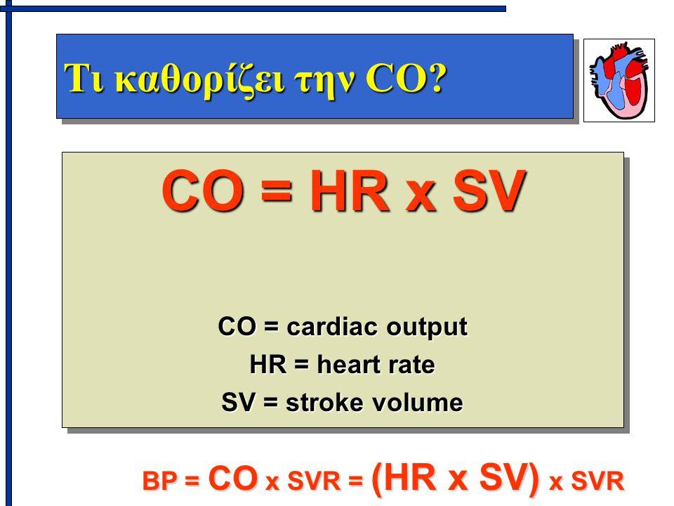 Τι καθορίζει την CO? CO = HR x SV CO = cardiac output HR = heart rate SV = stroke volume CO = HR x SV CO = cardiac output HR = heart rate SV = stroke