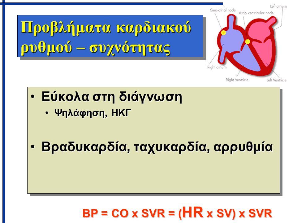 Προβλήματα καρδιακού ρυθμού – συχνότητας Εύκολα στη διάγνωσηΕύκολα στη διάγνωση Ψηλάφηση, ΗΚΓΨηλάφηση, ΗΚΓ Βραδυκαρδία, ταχυκαρδία, αρρυθμίαΒραδυκαρδία, ταχυκαρδία, αρρυθμία Εύκολα στη διάγνωσηΕύκολα στη διάγνωση Ψηλάφηση, ΗΚΓΨηλάφηση, ΗΚΓ Βραδυκαρδία, ταχυκαρδία, αρρυθμίαΒραδυκαρδία, ταχυκαρδία, αρρυθμία BP = CO x SVR = ( HR x SV) x SVR